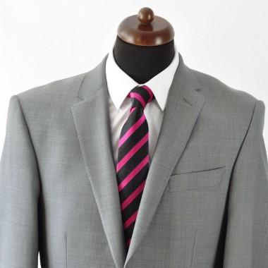 Cravate Homme Classique. Noir et fuchsia à rayures