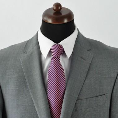 Cravate Homme Classique. Bleu marine et rose à fines rayures