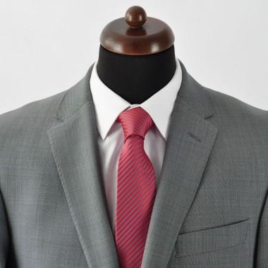Cravate Homme Classique. Rouge et gris à fines rayures