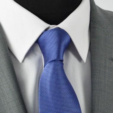 Cravate Homme Classique. Bleu à fin quadrillage
