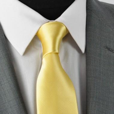 Cravate Homme Classique. Jaune pâle uni