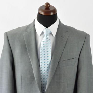 Cravate Homme Classique. Blanc à pois turquoise
