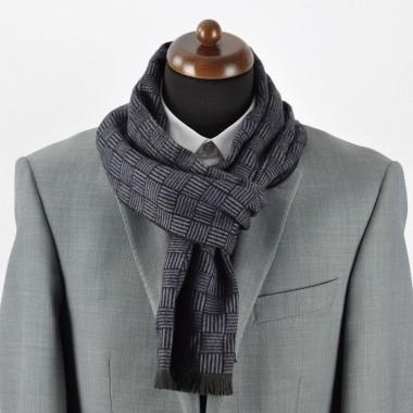 Echarpe, foulard homme. Noir à grands carreaux. Soie mélangée