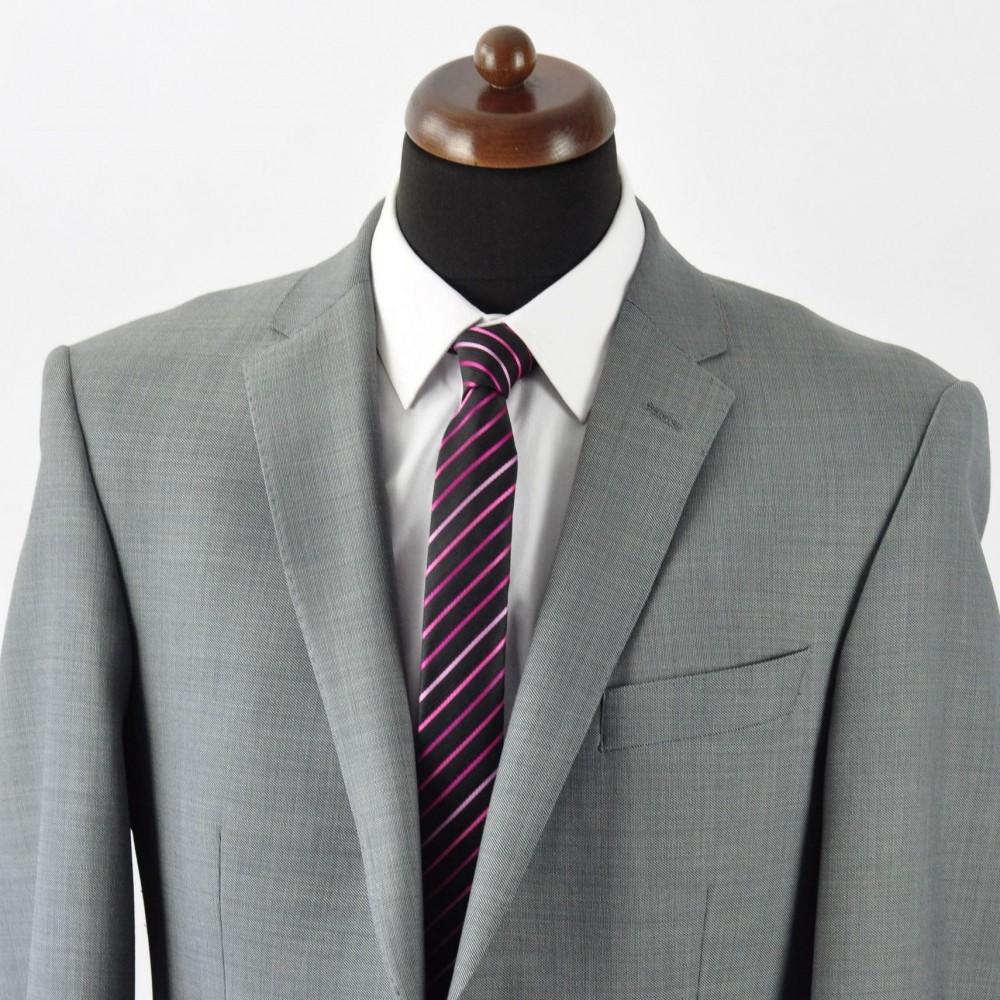 Cravate slim homme de qualit mode et pas cher noire rayures roses - Cravate noire homme ...
