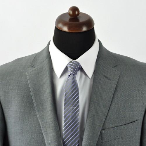 Cravate Slim homme Grise à rayures viloettes