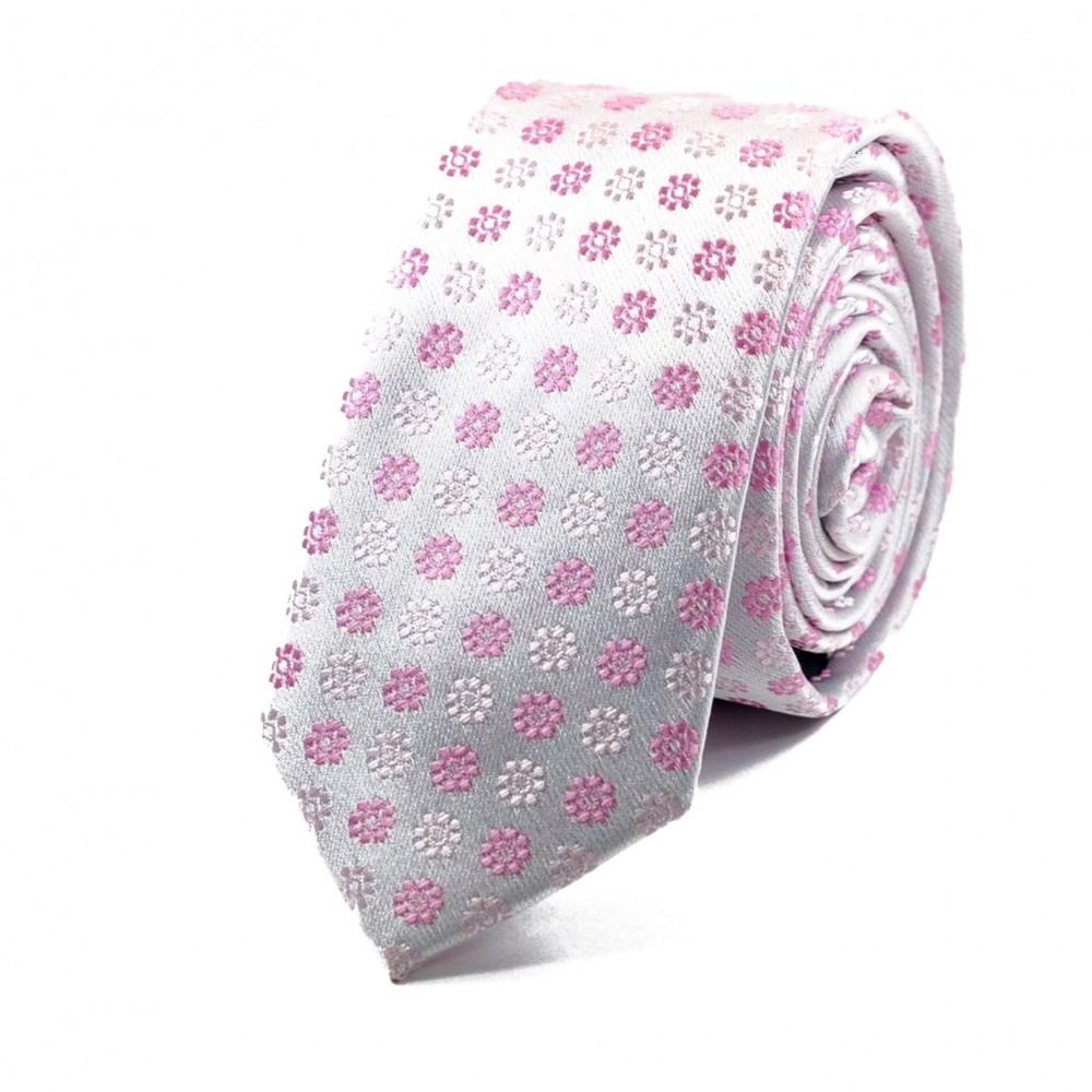 Cravate Attora. Rose à motifs fleuris. Slim, étroite.