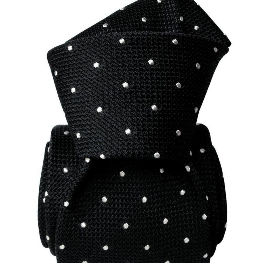 Cravate en Grenadine de Soie. Noir avec pois blancs