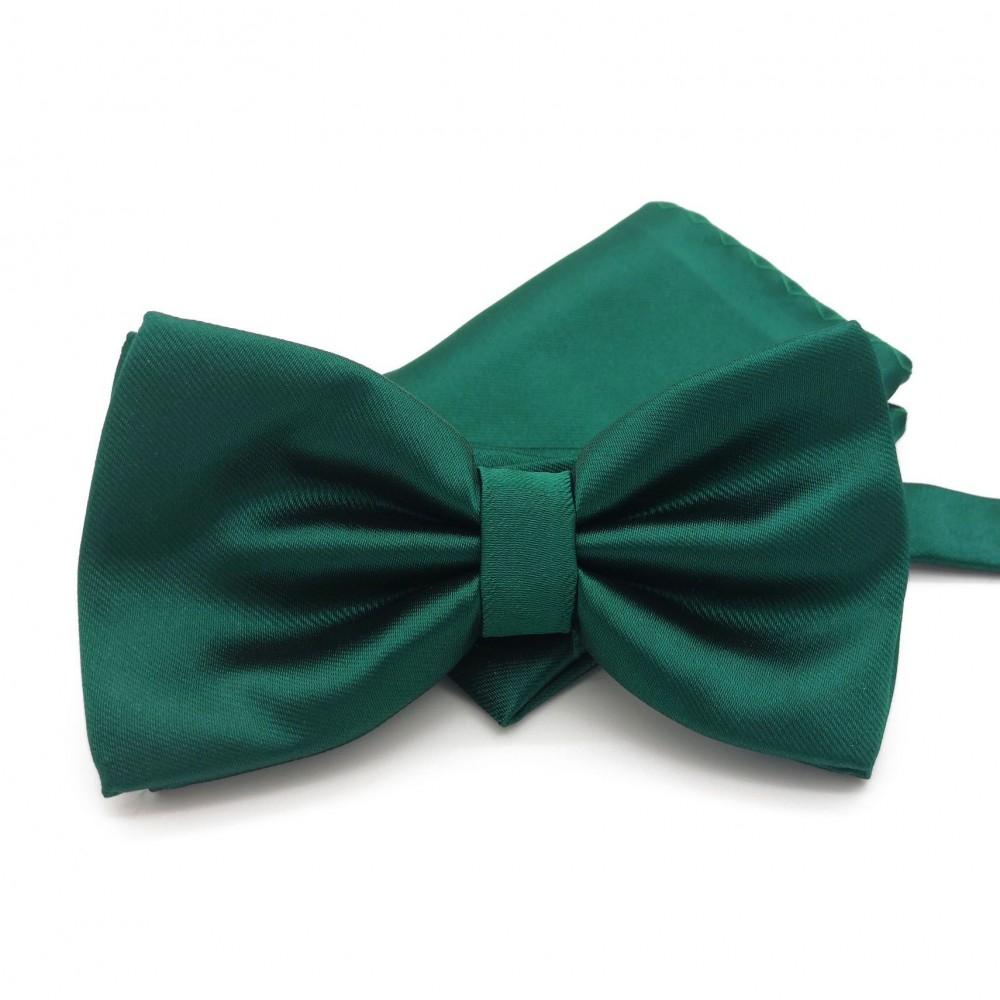Ensemble Noeud papillon et Pochette assortie, vert pin uni.