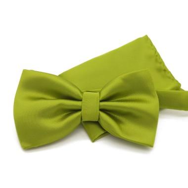 Ensemble Noeud papillon et Pochette assortie, vert olive uni.