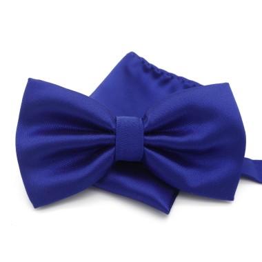 Ensemble Noeud papillon et Pochette assortie, bleu uni.