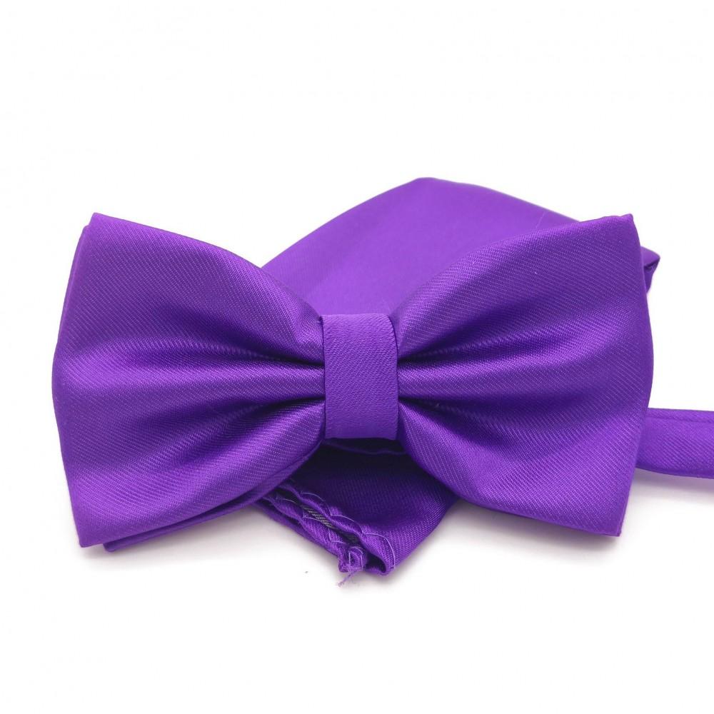 Ensemble Noeud papillon et Pochette assortie, violet uni.