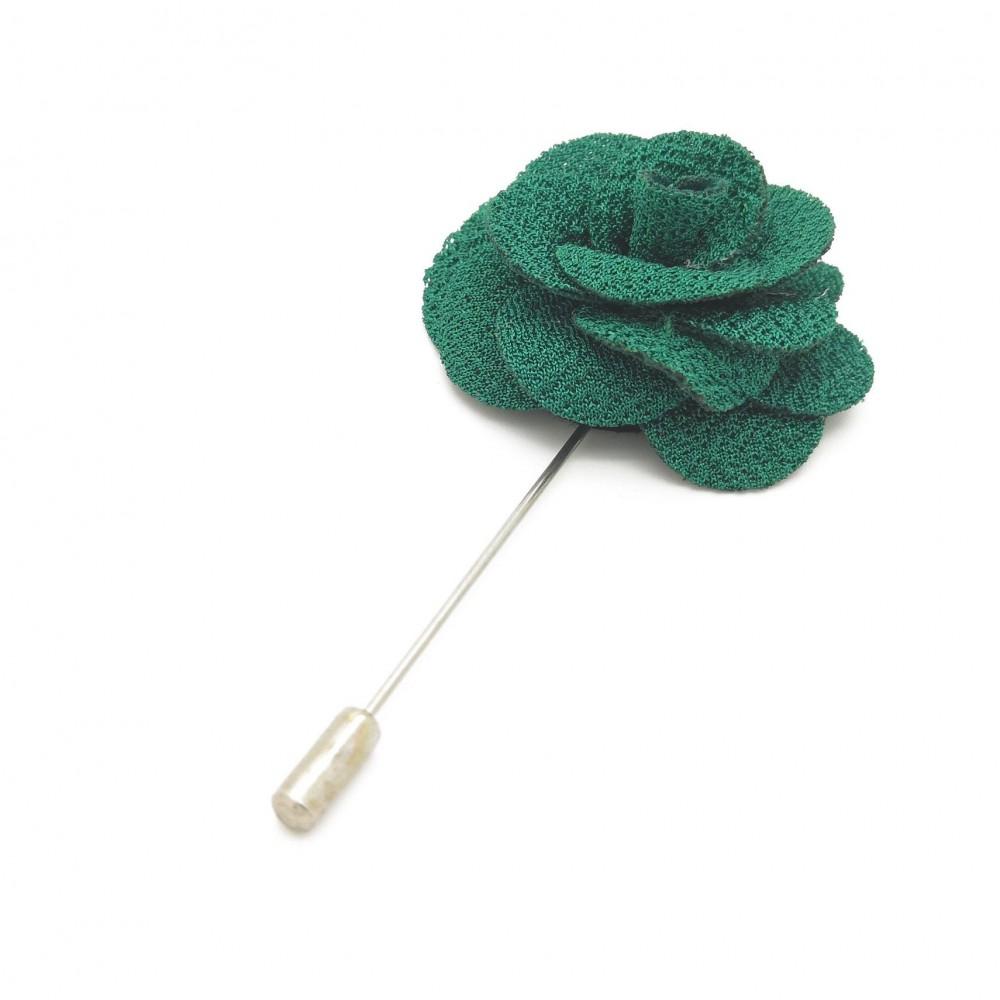 Broche Verte bouteille pour boutonnière de costume homme.