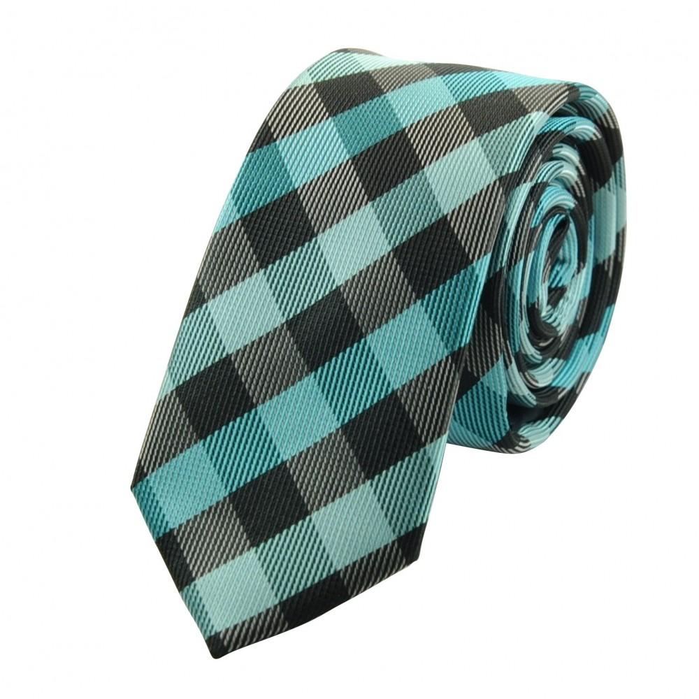 Cravate Attora. Bleu turquoise à carreaux. Slim, étroite.