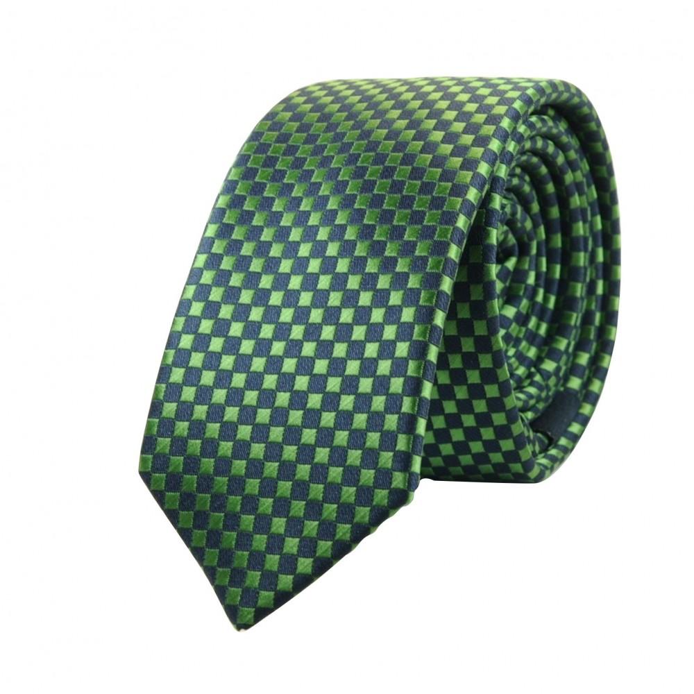 Cravate Attora. Vert et noir à petits carreaux. Slim, étroite.
