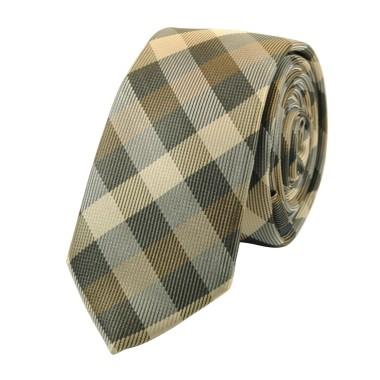 Cravate Attora. Marron à carreaux. Slim, étroite.