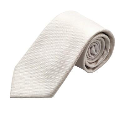 Cravate italienne 100% soie. Blanc uni. Effet quadrillé. 7camicie.