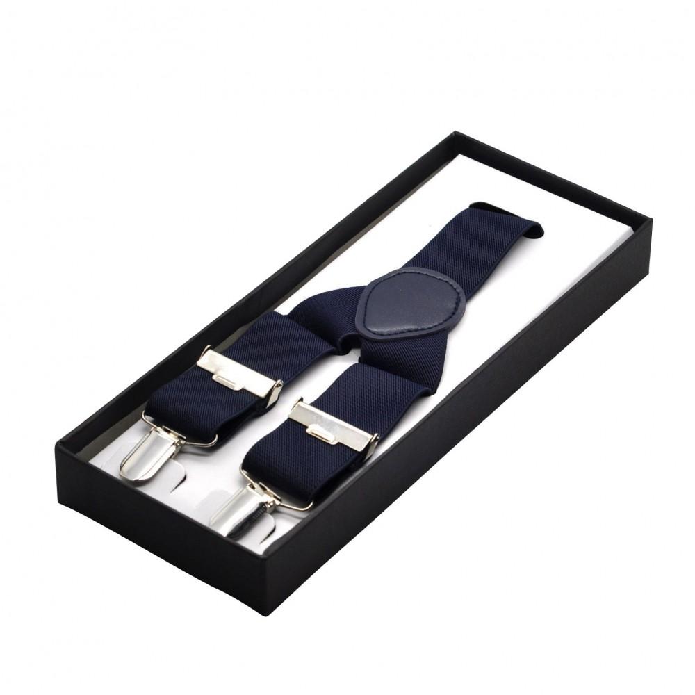 Bretelles homme 3 pinces, 110 cm, Bleu marine