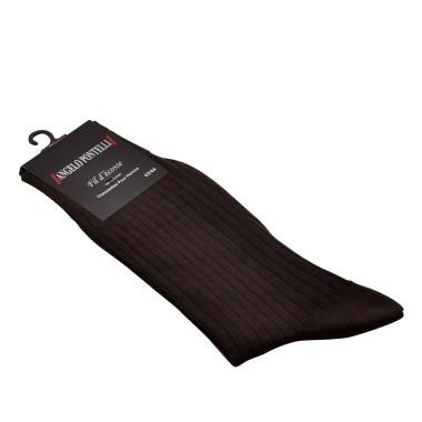 Chaussettes en fil d'Ecosse. Marron.