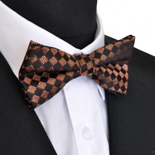 Noeud papillon Noir et marron à carreaux. Noué, ajustable.