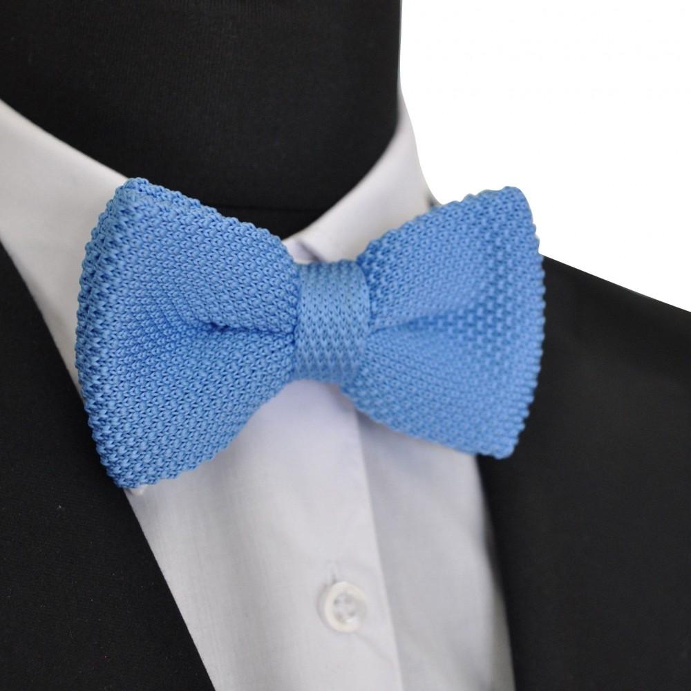 noeud papillon homme pas cher tricot nou ajustable bleu ciel uni. Black Bedroom Furniture Sets. Home Design Ideas