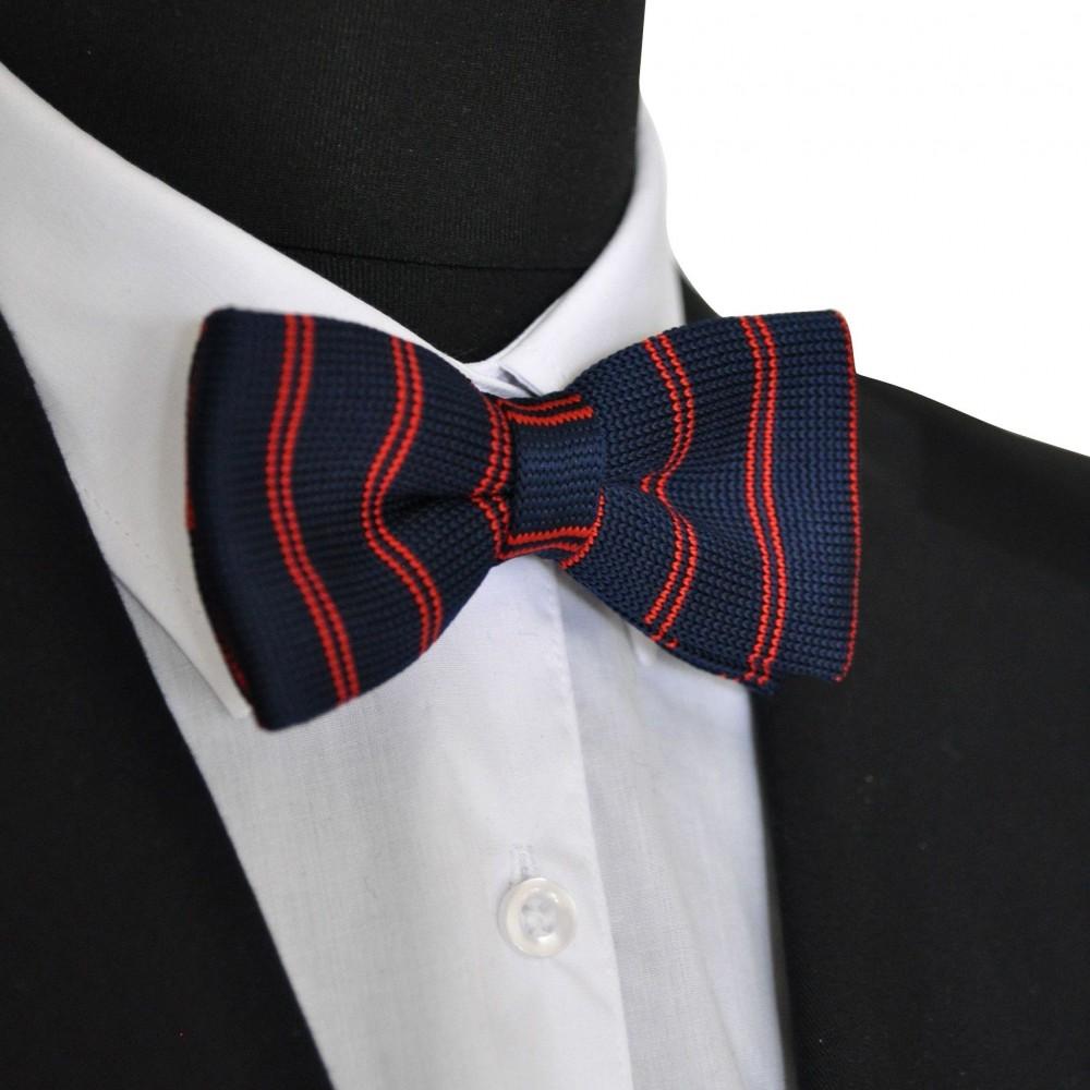 noeud papillon homme pas cher tricot nou bleu marine rayures rouges. Black Bedroom Furniture Sets. Home Design Ideas