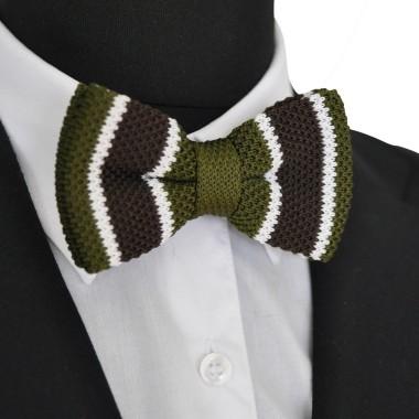 Noeud papillon en tricot. Noué. Marron et kaki à rayures