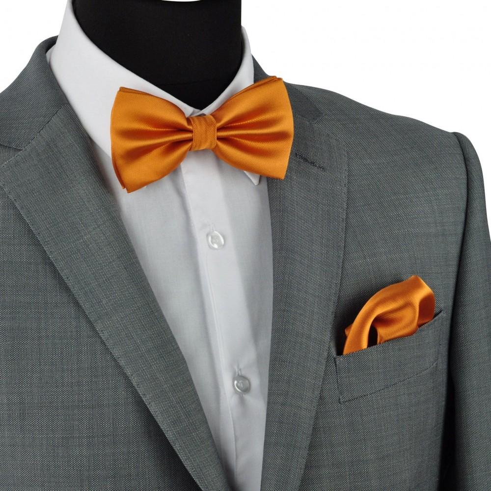 ensemble noeud papillon et pochette assortie orange uni. Black Bedroom Furniture Sets. Home Design Ideas
