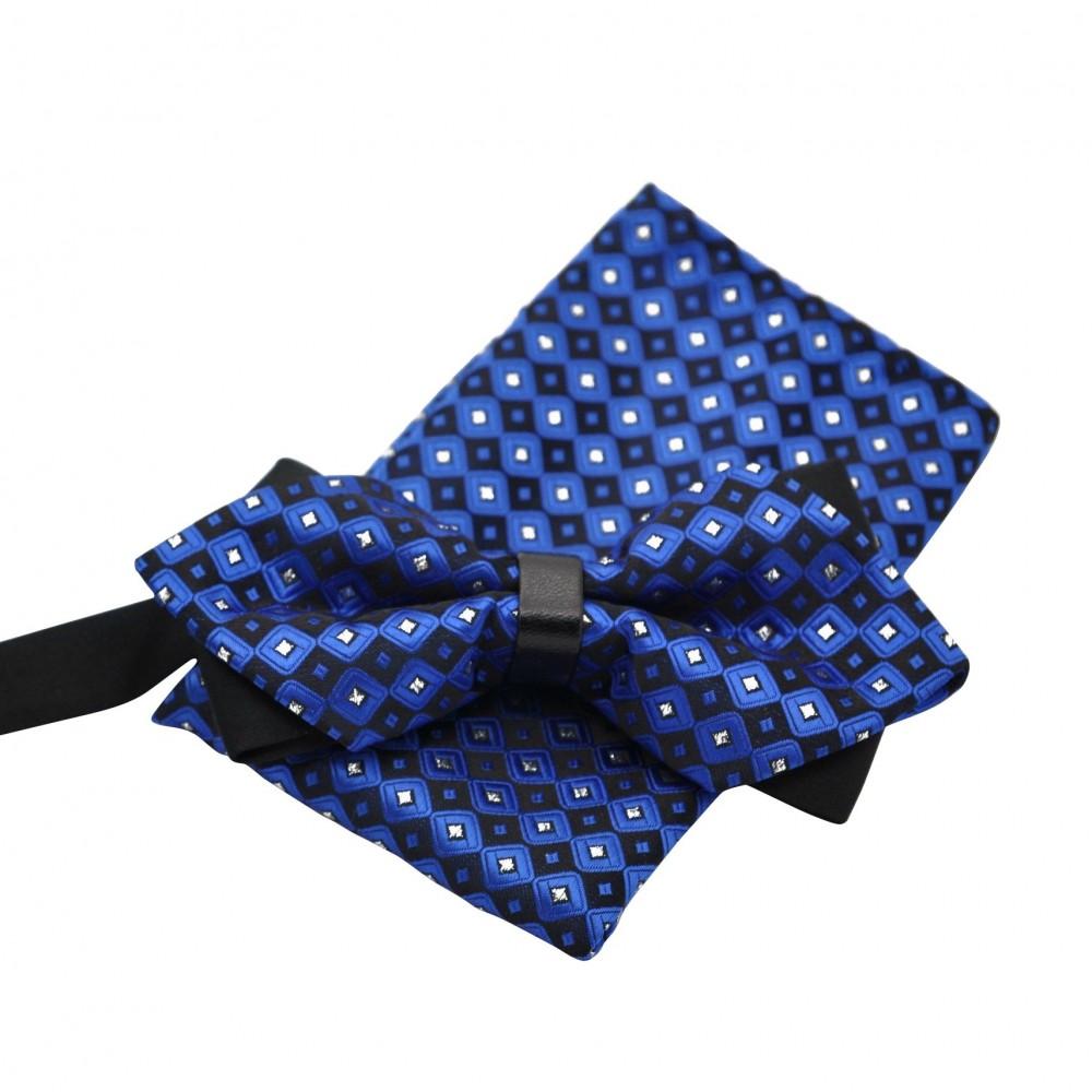 ensemble noeud papillon et pochette assortie bleu avec. Black Bedroom Furniture Sets. Home Design Ideas