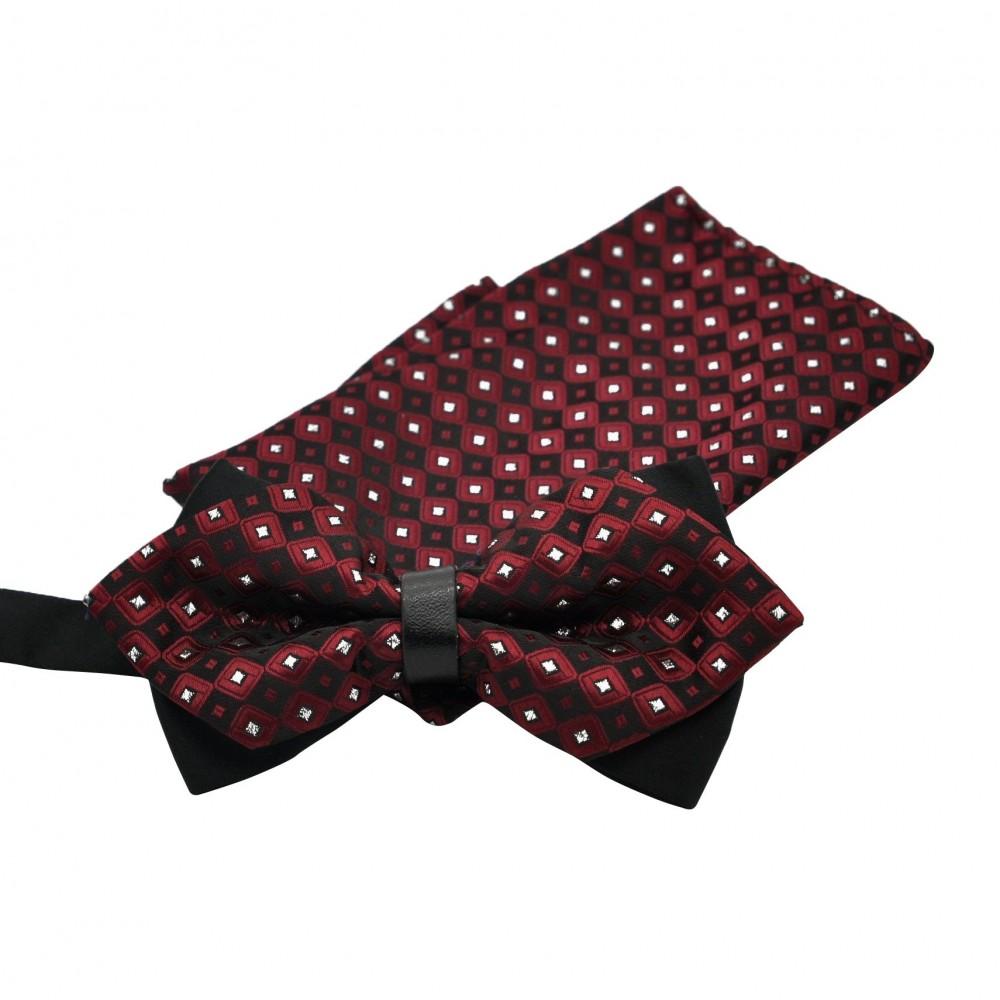 ensemble noeud papillon et pochette assortie bordeaux. Black Bedroom Furniture Sets. Home Design Ideas