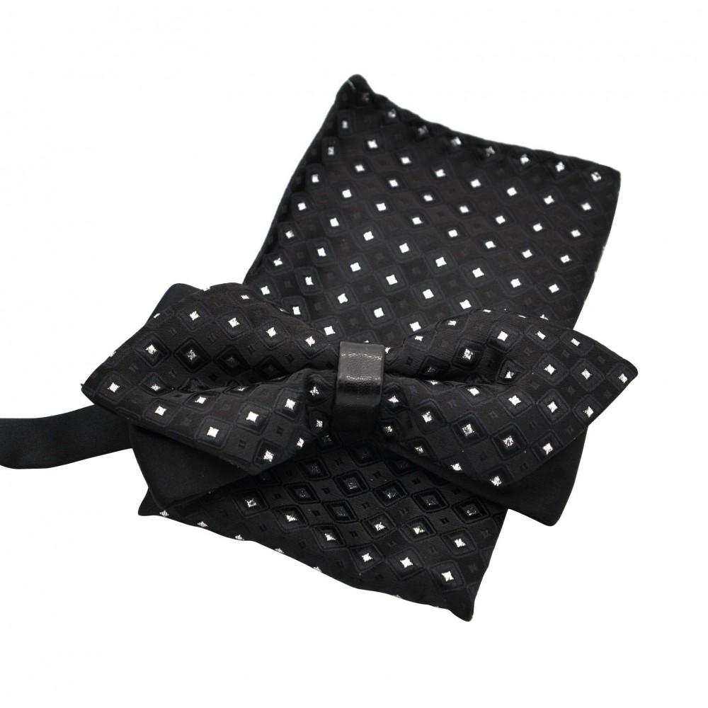 ensemble noeud papillon et pochette assortie noir avec. Black Bedroom Furniture Sets. Home Design Ideas