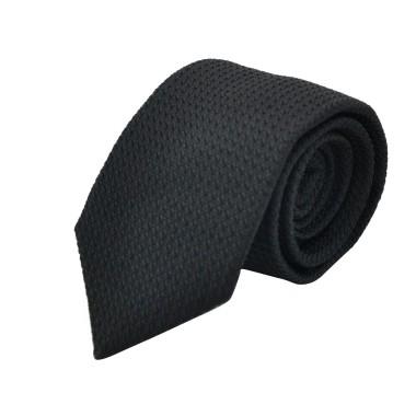 Cravate en Grenadine de Soie 'grosso'. Noir