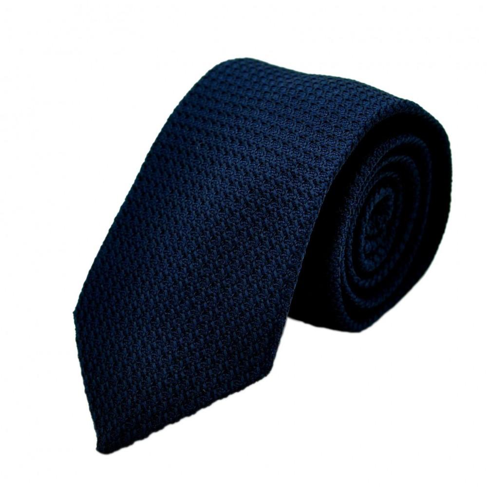 Cravate en Grenadine de Soie 'grosso'. Bleu Marine