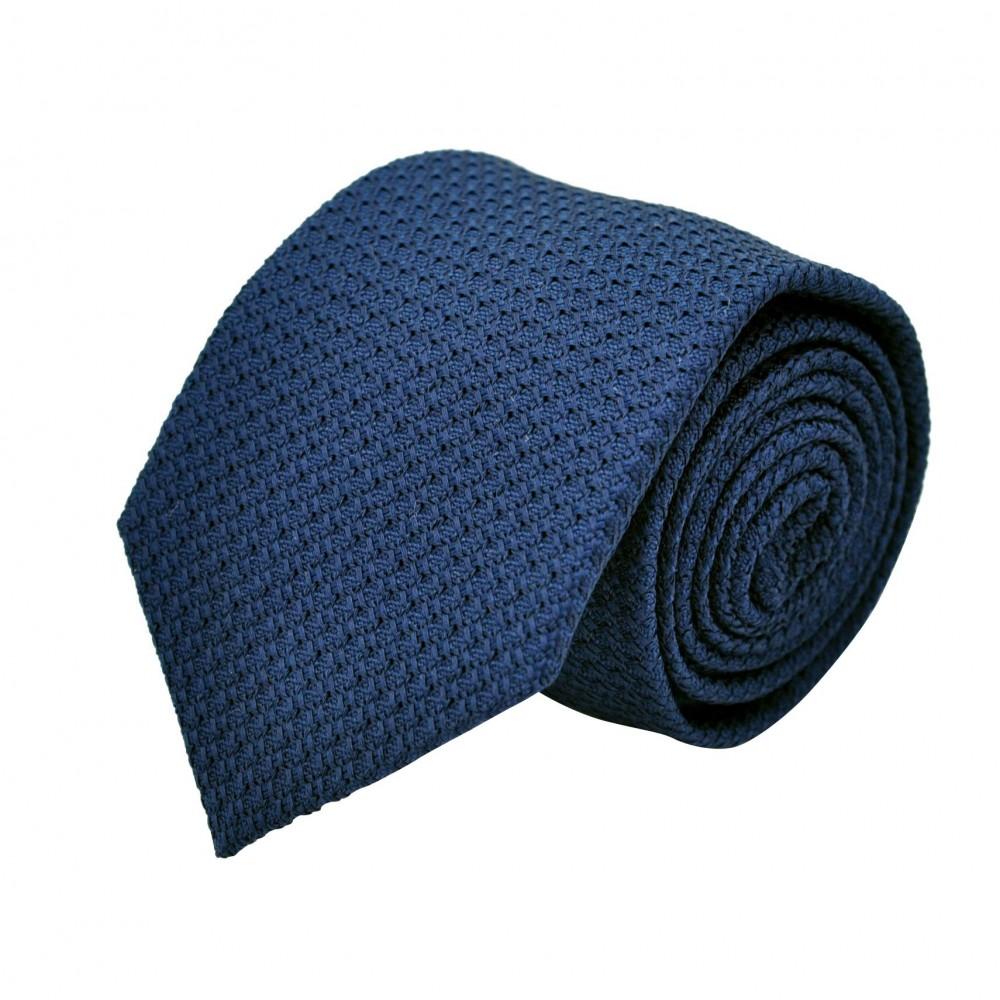 Cravate en Grenadine de Soie 'grosso'. Bleu Français