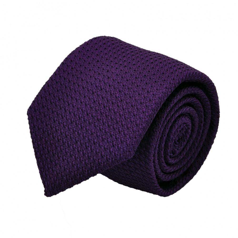 Cravate en Grenadine de Soie 'grosso'. Violet foncé