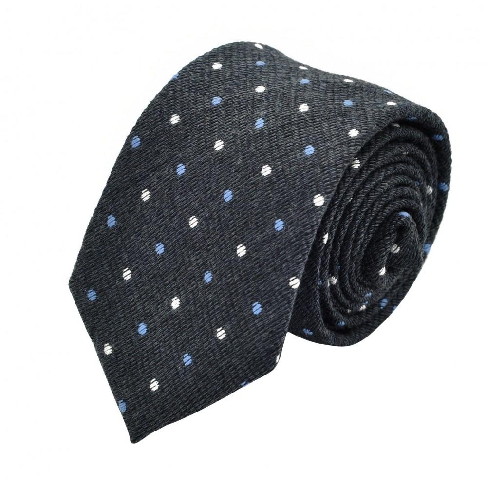 Cravate Homme en Laine. Gris anthracite à pois.