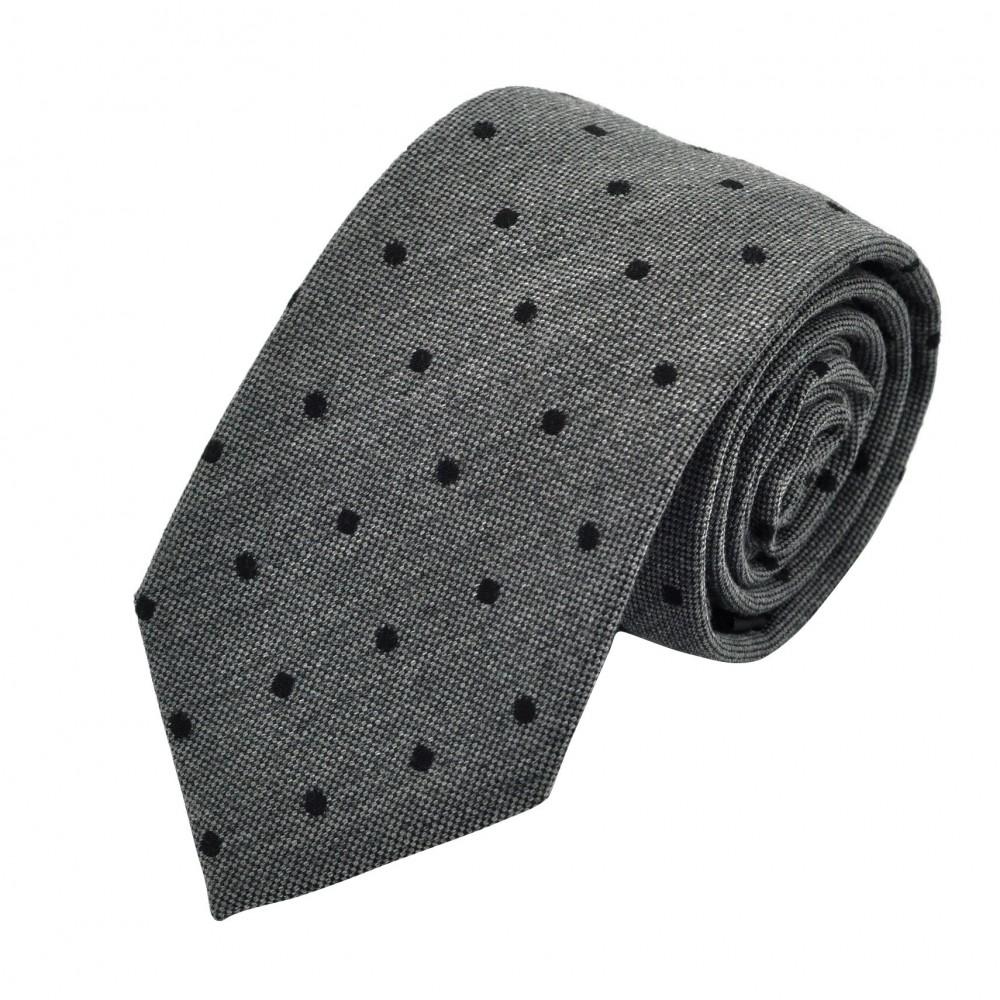 Cravate Homme en Laine. Gris à pois noirs