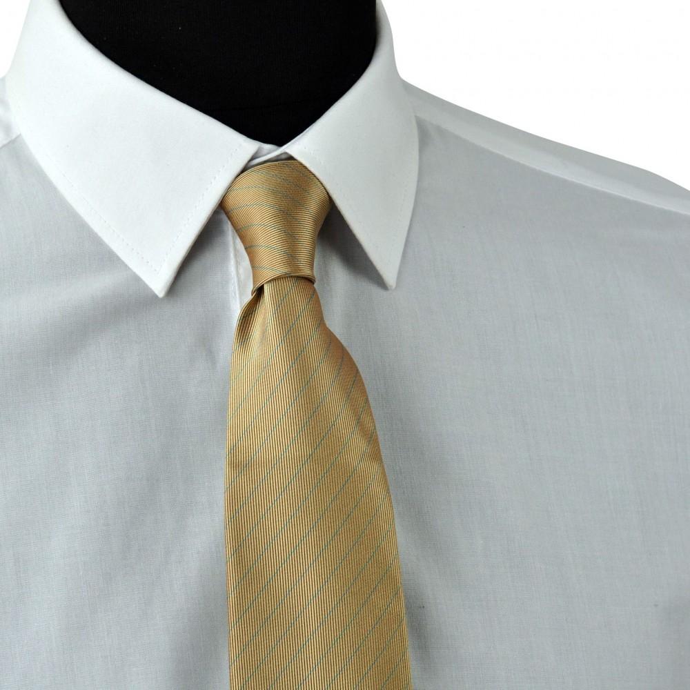 Cravate Enfant Beige à rayures bleues.