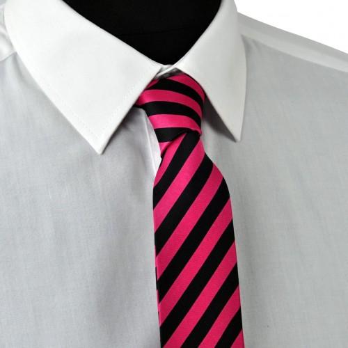 Cravate Enfant Noire et Fuchsia à grandes rayures.