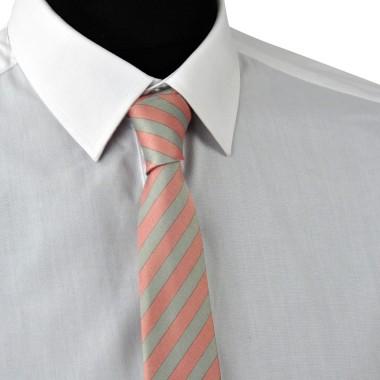 Cravate Enfant Gris et Rose à grandes rayures.