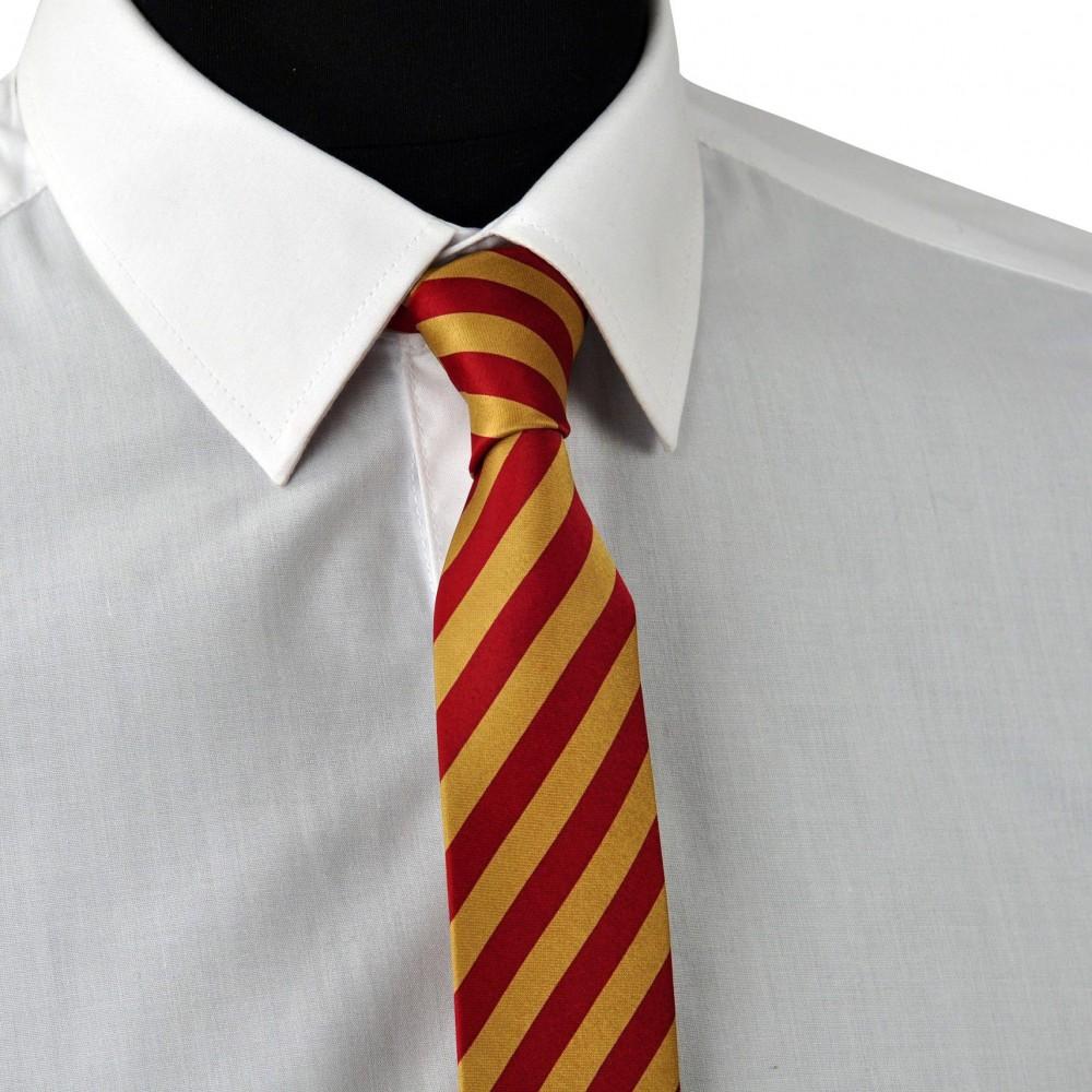 Cravate Enfant Rouge et Beige à grandes rayures.