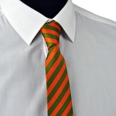 Cravate Enfant Vert et Orange à grandes rayures.
