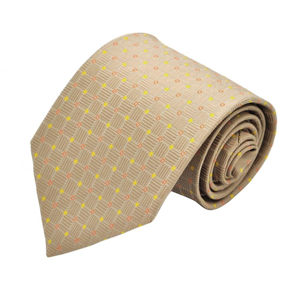Cravate classique Beige à pois.