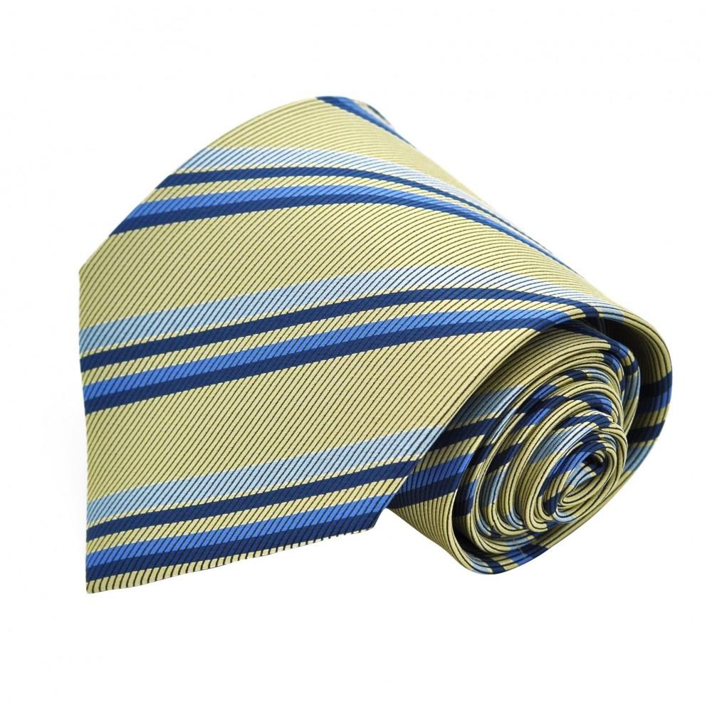 Cravate classique Vert à rayures bleues.