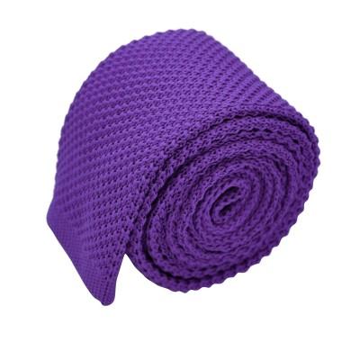 Cravate tricot pour homme. Violet. Slim et bout carré.