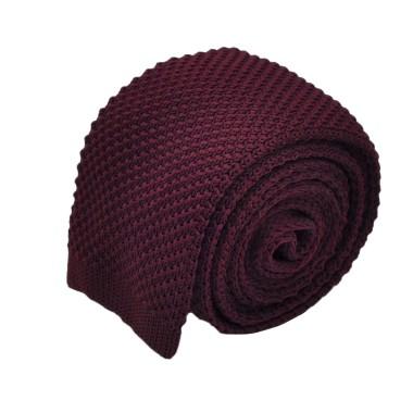 Cravate tricot pour homme. Bordeaux. Slim et bout carré.