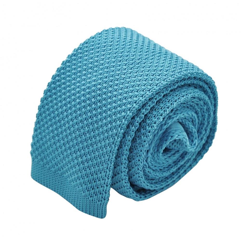 Cravate tricot pour homme. Bleu turquoise uni. Slim et bout carré.