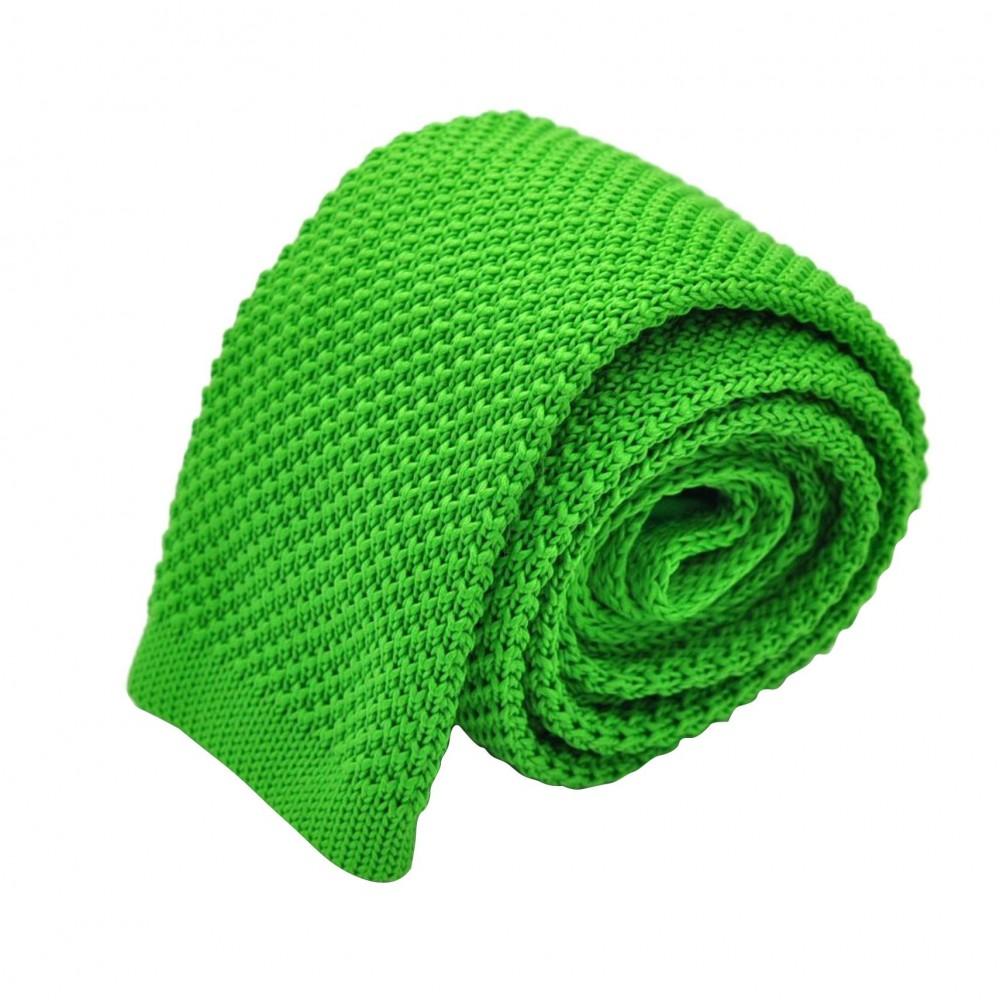 Cravate tricot pour homme. Vert vif uni. Slim et bout carré.
