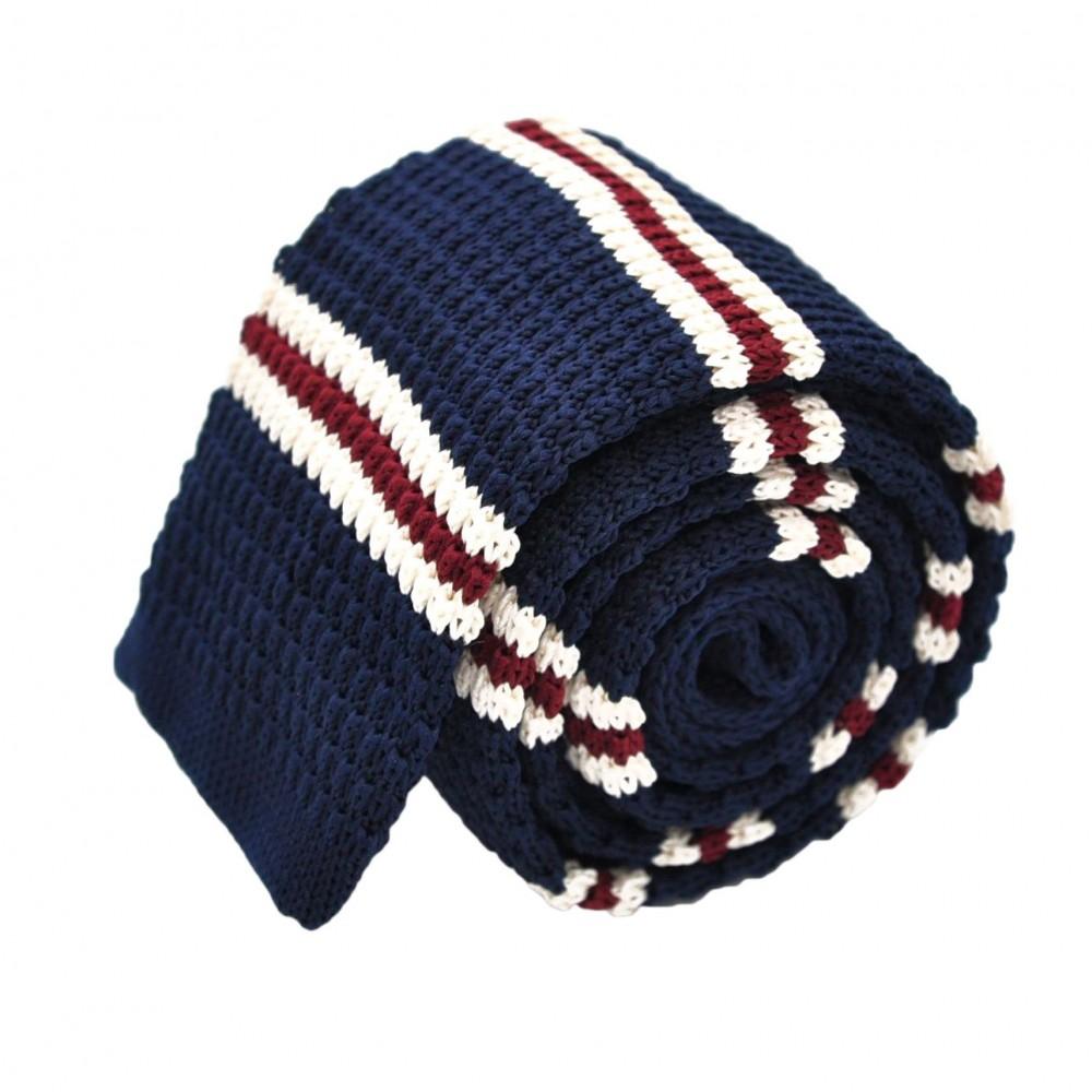 Cravate Tricot Bleu nuit à rayures blanches et rouges. Bout carré.