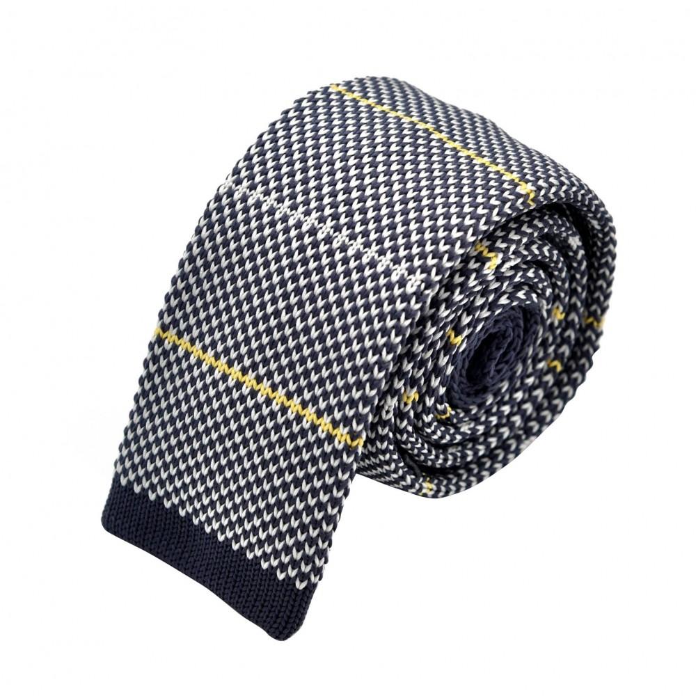 Cravate Tricot Grise à rayures blanches et jaunes. Bout carré.