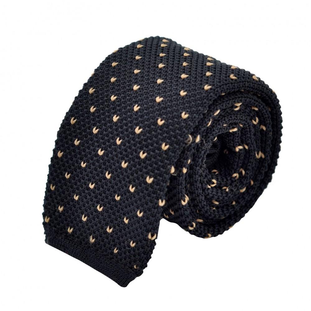 Cravate Tricot Noire à pois blancs